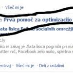 Facebook re-tweet kot se pojavi na strani osebe A