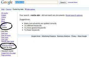Google iskanje po forumih ne deluje