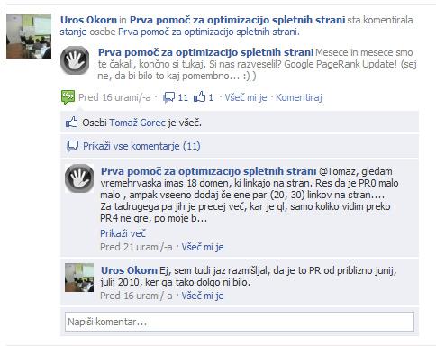Facebook komentarji na strani