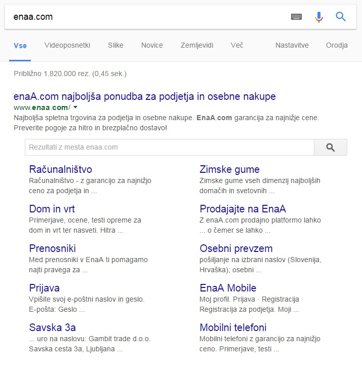 rich snippets search inside sitelinks